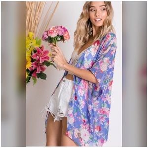Pretty in Purple Floral Print Chiffon Kimono Wrap